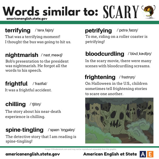words similiar to SCARY