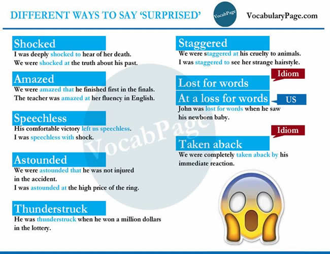 Different Ways to Say SURPRISED – Vocabulary Home