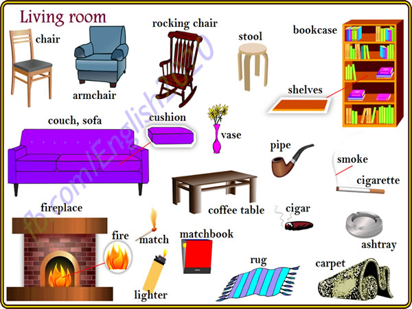Vocabulary living room home design for Living room vocabulary