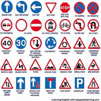 Road Sign Vocabulary in English-200