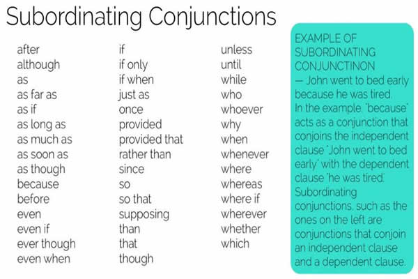 subordinating conjunctions vocabulary home