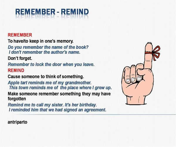 remember vs I'd like to know the difference between the verbs remember and remind i think that these sentences are correct: i remember the wedding day i remind.
