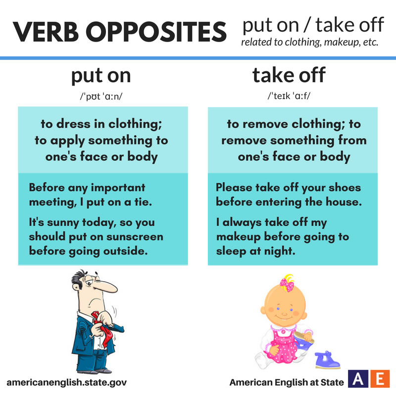 Put Away Clothes En Espanol ~ Verb opposites put on and take off vocabulary home