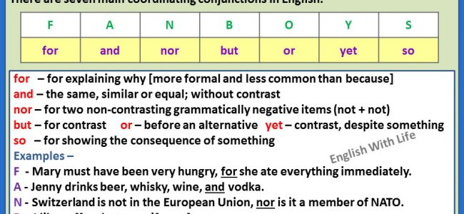 list of coordinating conjunctions pdf