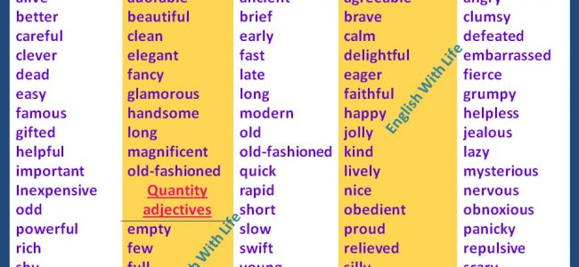 different-kind-of-adjectives