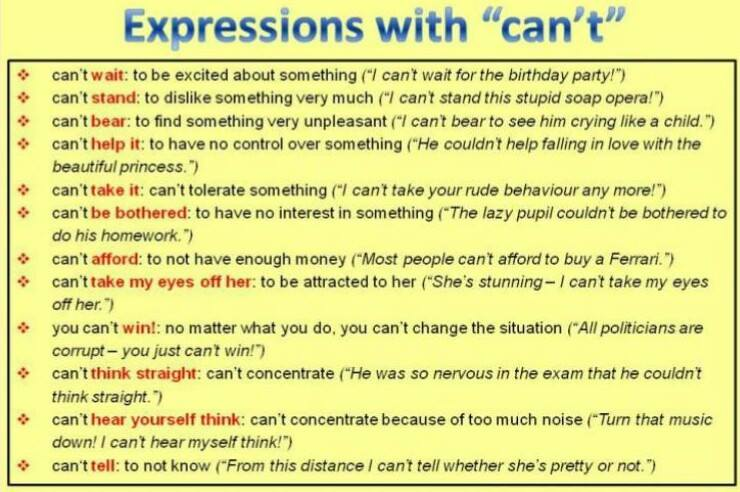 Expressions with CAN'T