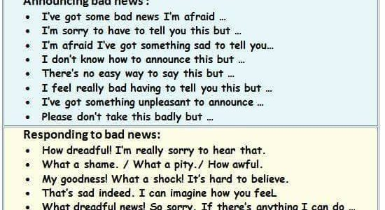 How to Announce and Respond Bad News