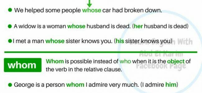 Relative Clauses with Whose, Whom