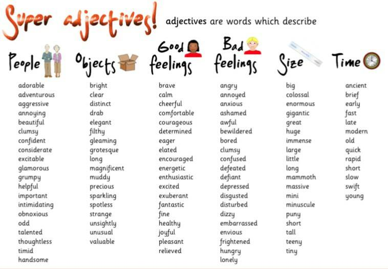 super adjectives list vocabulary home