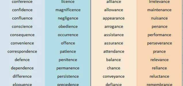 Usign -ence and -ance
